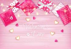 Insecte heureux de Saint-Valentin, fond horizontal de bannière de Web avec les lucettes, biscuits sous forme de coeur, guirlande, illustration de vecteur