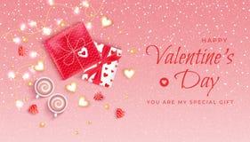 Insecte horizontal de fond de bannière de Web de Saint-Valentin heureuse avec des guirlandes, sucreries, confettis, perles, boîte illustration stock