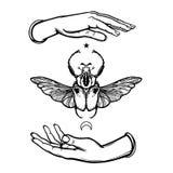 Insecte humain du ` s de Goliath de prise de mains Symbole de la lune Allégorie mystique illustration de vecteur