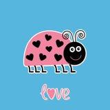 Insecte mignon de dame rose de bande dessinée avec des points dans la forme du coeur. Voiture d'amour Image stock