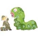 insecte monsterous et explorateur de rétro bande dessinée illustration stock