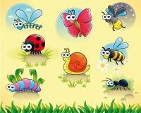 Insecten + 1 slak. Stock Afbeelding