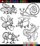 Insecten en insecten voor het Kleuren van Boek Stock Foto's