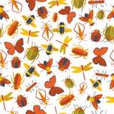Insecten naadloos patroon Royalty-vrije Stock Foto's