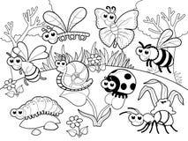 Insecten + 1 slak met achtergrond in blach en wit. Royalty-vrije Stock Afbeelding