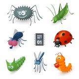 Insectes de bande dessinée réglés Images libres de droits