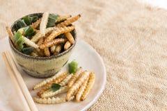 Insectes de nourriture : L'insecte en bambou de Caterpillar de ver en bambou a fait frire le casse-croûte pour manger comme produ images stock