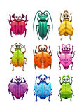 Insectes drôles d'imagination de bande dessinée réglés Photos libres de droits