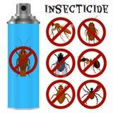 Insecticidas fijados en estilo plano Foto de archivo libre de regalías
