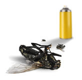 Insecticide spray bottle with dead flies. Insecticide spray bottle can and dead flies on white background stock photo