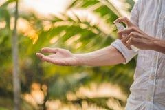 Insectifuge de pulv?risation de moustique de jeune homme dans le forrest, protection d'insecte images stock