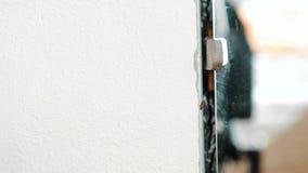 Insectkever die op de muur in de flat naast de spiegel kruipen stock videobeelden