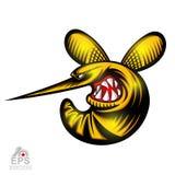 Insecto de la avispa en perfil con el logotipo descubierto de los dientes para cualquier equipo de deporte aislado stock de ilustración