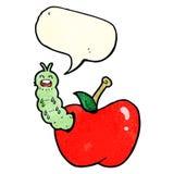 insecto de la historieta que come la manzana con la burbuja del discurso Fotografía de archivo libre de regalías