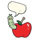 insecto de la historieta que come la manzana con la burbuja del discurso Imágenes de archivo libres de regalías