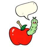 insecto de la historieta que come la manzana con la burbuja del discurso Imagen de archivo