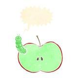insecto de la historieta que come la manzana con la burbuja del discurso Fotos de archivo