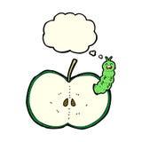 insecto de la historieta que come la manzana con la burbuja del pensamiento Fotografía de archivo