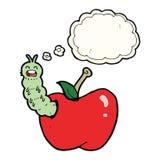 insecto de la historieta que come la manzana con la burbuja del pensamiento Foto de archivo libre de regalías