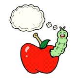 insecto de la historieta que come la manzana con la burbuja del pensamiento Fotografía de archivo libre de regalías