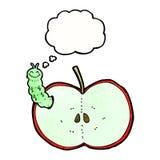 insecto de la historieta que come la manzana con la burbuja del pensamiento Imagen de archivo libre de regalías