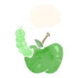 insecto de la historieta que come la manzana con la burbuja del pensamiento Imágenes de archivo libres de regalías