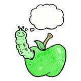 insecto de la historieta que come la manzana con la burbuja del pensamiento Imagen de archivo