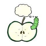insecto de la historieta que come la manzana con la burbuja del pensamiento Fotos de archivo