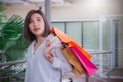 Insecto de las compras de la sonrisa y del control de la mujer, ella tiempo feliz en la mediados de venta del año del día fotografía de archivo libre de regalías