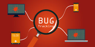 Insecto de software que sigue en dispositivos Imágenes de archivo libres de regalías