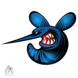 Insecto del mosquito en perfil con el logotipo descubierto de los dientes para cualquier equipo de deporte aislado libre illustration