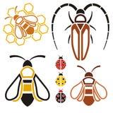 Insecto-iconos, objetos Fotografía de archivo