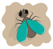 Insecto plano de la historieta del icono de la mosca ilustración del vector