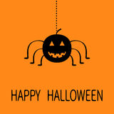 Insecto sonriente negro de la araña de la ejecución de la calabaza de la historieta linda Línea web de la rociada Tarjeta de feli Imagen de archivo libre de regalías