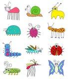 Insectos coloreados divertidos de los insectos fijados Fotos de archivo libres de regalías