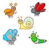 Insectos de la animación aislados en un fondo blanco Fotos de archivo