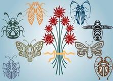 Insectos de la colección del nouveau del arte Fotografía de archivo libre de regalías