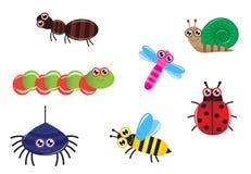 Insectos de la historieta Imágenes de archivo libres de regalías