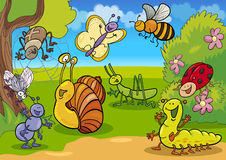 Insectos de la historieta en el prado ilustración del vector