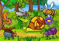 Insectos de la historieta en escena rural de la naturaleza Imágenes de archivo libres de regalías