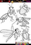 Insectos de la historieta fijados para el libro de colorear Fotografía de archivo libre de regalías