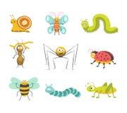 Insectos divertidos con los ejemplos facesisolated alegres fijados Fotos de archivo libres de regalías