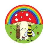 Insectos divertidos de la historieta Imagen de archivo libre de regalías