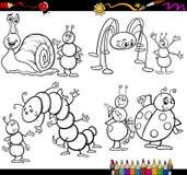 Insectos divertidos fijados para el libro de colorear Imagenes de archivo