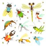 Insectos, mariposa y otros insectos en estilo de la historieta Foto de archivo