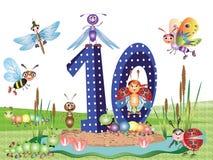 Insectos y serie de los números, 10 Foto de archivo