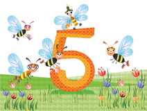 Insectos y serie de los números, 5 Fotografía de archivo libre de regalías