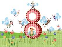 Insectos y serie de los números, 8 Foto de archivo libre de regalías
