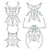 Insectpictogrammen, vectorreeks Abstracte driehoekige stijl Royalty-vrije Stock Foto