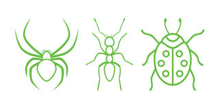Insects. Green Nature Icons. Part 6 - Insects Royalty Free Illustration